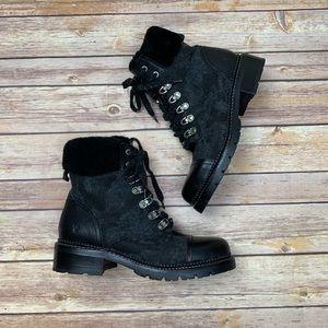NWOB FRYE Samantha Hiker Sherpa Boot Black Camo